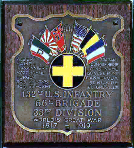 132nd Inf Welfare Assoc plaque